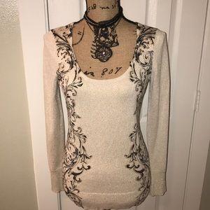 Boston Proper Metallic scroll sweater